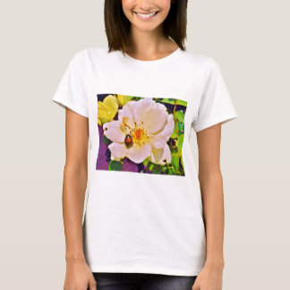 Japanese Beetle on White  Rose T-Shirt