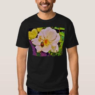 Japanese Beetle on White  Rose Tee Shirts