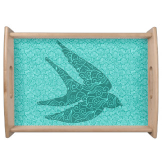 Japanese Bird in Flight, Turquoise and Aqua Serving Tray