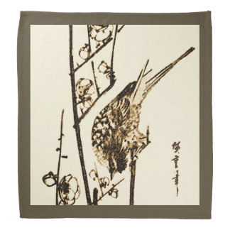 Japanese Bird on a Branch - Brown and Beige Bandanna