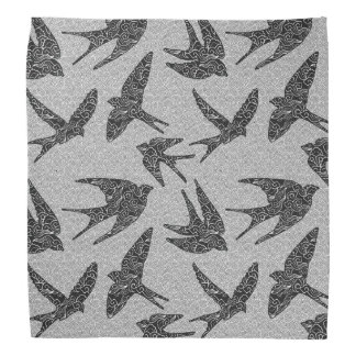 Japanese Birds in Flight, Charcoal and Light Gray Bandana