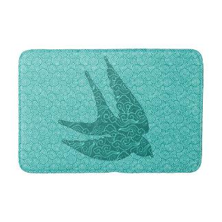 Japanese Birds in Flight, Turquoise and Aqua Bath Mat