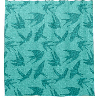 Japanese Birds in Flight, Turquoise and Aqua Shower Curtain