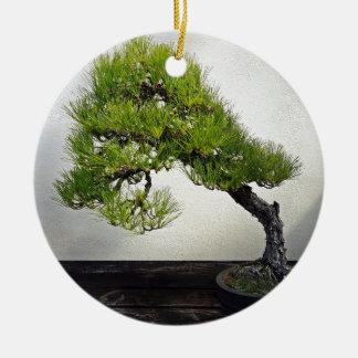 Japanese Black Pine Bonsai Round Ceramic Decoration