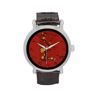 Japanese Blossoms - Vintage Red Wrist Watches