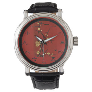 Japanese Blossoms - Vintage Red Wristwatch