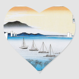 JAPANESE BOATS HEART STICKER