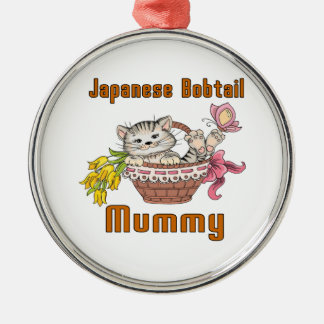Japanese Bobtail Cat Mom Silver-Colored Round Decoration