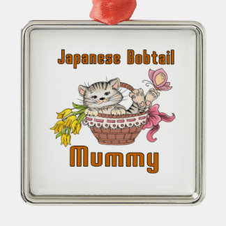 Japanese Bobtail Cat Mom Silver-Colored Square Decoration