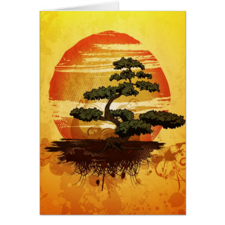 Japanese Bonsai Tree Sunset Card