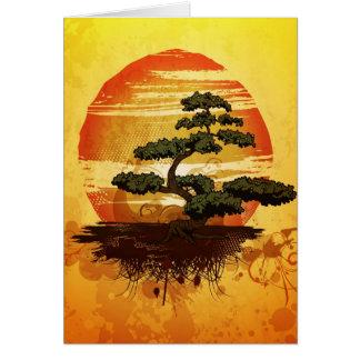 Japanese Bonsai Tree Sunset Greeting Card