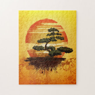 Japanese Bonsai Tree Sunset Jigsaw Puzzle