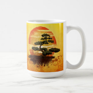Japanese Bonsai Tree Sunset Coffee Mugs