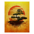 Japanese Bonsai Tree Sunset Poster
