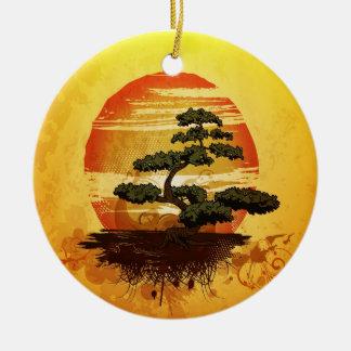 Japanese Bonsai Tree Sunset Round Ceramic Decoration