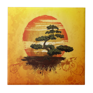 Japanese Bonsai Tree Sunset Tile