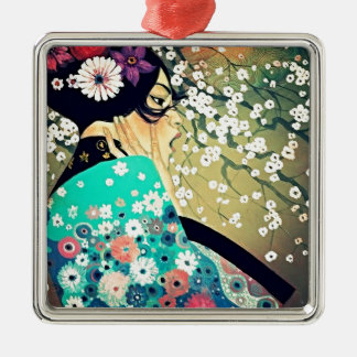 Japanese Breeze Silver-Colored Square Decoration