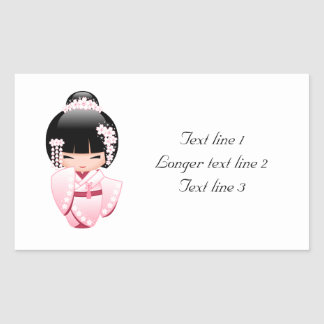 Japanese Bride Kokeshi Doll Rectangular Sticker