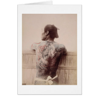 Japanese Bridegroom's Tattoos, c.1880 (photo) Card
