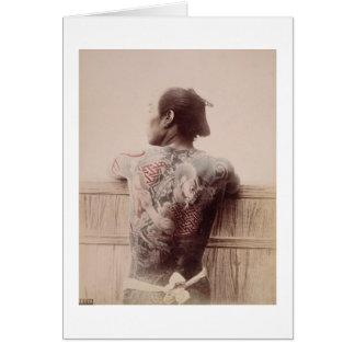 Japanese Bridegroom's Tattoos, c.1880 (photo) Card