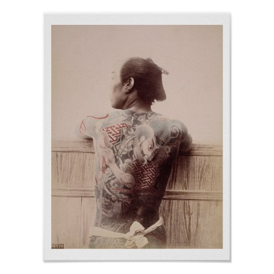 Japanese Bridegroom's Tattoos, c.1880 (photo) Poster
