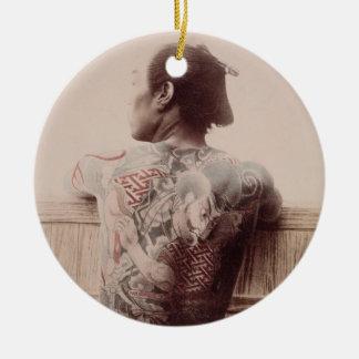 Japanese Bridegroom's Tattoos, c.1880 (photo) Round Ceramic Decoration