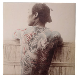 Japanese Bridegroom's Tattoos, c.1880 (photo) Tile