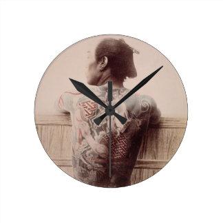 Japanese Bridegroom's Tattoos, c.1880 (photo) Wall Clock