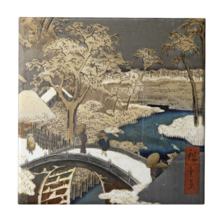 Japanese Bridge in the Snow Tile