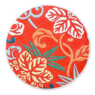 Japanese brocade - red and white ceramic knob
