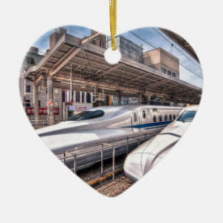 Japanese Bullet Trains at Tokyo Station Ceramic Heart Decoration