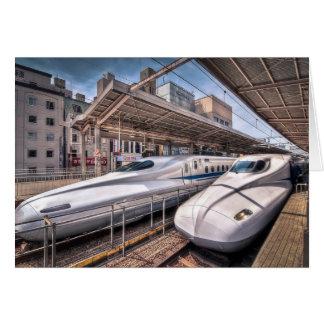 Japanese Bullet Trains at Tokyo Station Greeting Card