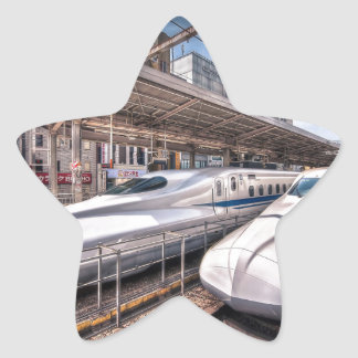Japanese Bullet Trains at Tokyo Station Star Sticker