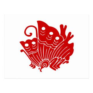 Japanese Butterfly Kamon Design Postcard