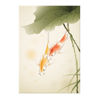 Japanese Carp fishes swimming in lotus pond Canvas Print
