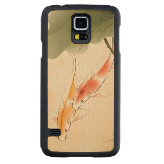 Japanese Carp fishes swimming in lotus pond Carved Maple Galaxy S5 Case