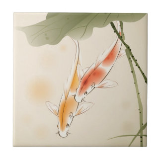Japanese Carp fishes swimming in lotus pond Small Square Tile