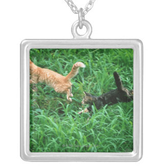 Japanese Cat 3 Silver Plated Necklace