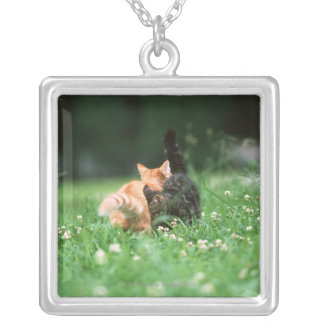 Japanese Cat 4 Silver Plated Necklace