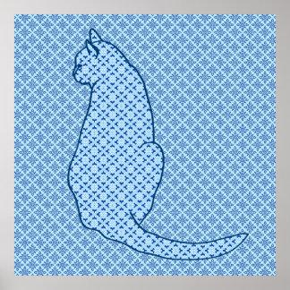 Japanese Cat - Blue Kimono Print
