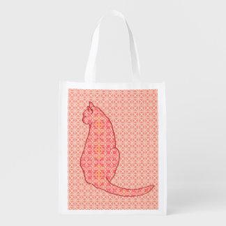 Japanese Cat - Coral Orange Batik Reusable Grocery Bags