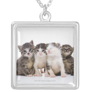 Japanese cat silver plated necklace