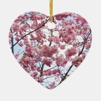 Japanese Cherry Blossom Ceramic Heart Decoration