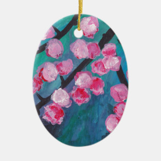 Japanese Cherry Blossom Painting Ceramic Oval Decoration