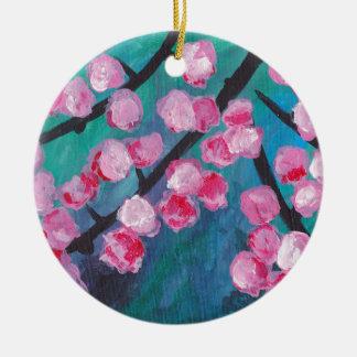 Japanese Cherry Blossom Painting Round Ceramic Decoration