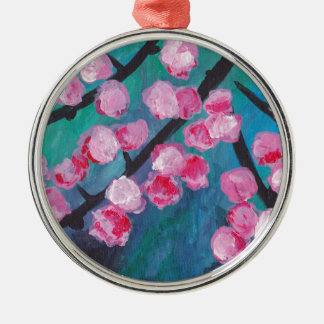 Japanese Cherry Blossom Painting Silver-Colored Round Decoration
