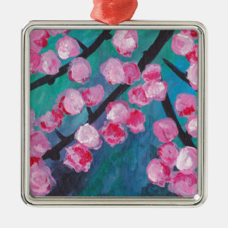 Japanese Cherry Blossom Painting Silver-Colored Square Decoration