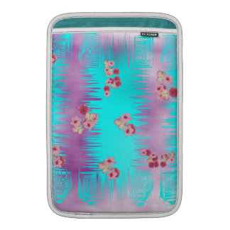 Japanese Cherry Blossom Pink Purple and Teal Mix MacBook Sleeves