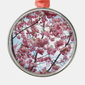 Japanese Cherry Blossom Silver-Colored Round Decoration