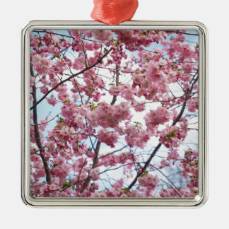 Japanese Cherry Blossom Silver-Colored Square Decoration